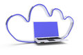 Laptop in shiny cloud shape Royalty Free Stock Photography