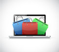 Laptop and shopping bags illustration design over a white background Royalty Free Stock Photo