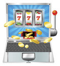 Laptop slot machine concept Stock Images