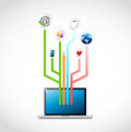 Laptop social media circuit diagram illustration design over white Stock Photo