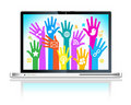 Laptop social media network Stock Image
