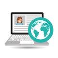 Laptop social profile globe icon Royalty Free Stock Photo