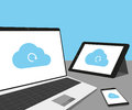 Laptop tablet pc and smartphone with cloud sync Stock Images