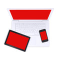 Laptop tablet pc and smartphone isolated on white background Stock Images