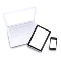 Laptop tablet pc and smartphone on white background Stock Photos
