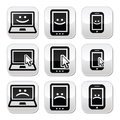 Laptop tablet phone with cursor happy sad vector buttons set modern technology isolated on white Stock Photos