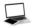 Laptop with tablet on white background Royalty Free Stock Photo