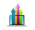 Laptop and up business color arrows illustration Royalty Free Stock Photo