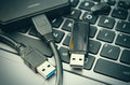 Laptop and usb Royalty Free Stock Photo