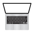 Laptop vector illustration with blank screen isolated on white background, white aluminium body . The upper view Royalty Free Stock Photo