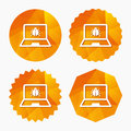 Laptop virus sign icon. Notebook software bug. Royalty Free Stock Photo