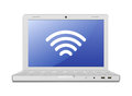 Laptop and wireless network Stock Images