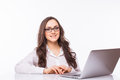 Laptop woman. Business Woman with glasses using laptop computer pc. Royalty Free Stock Photo
