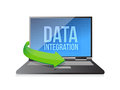 Laptop with word data integration on display illustration design over a white background Royalty Free Stock Photography