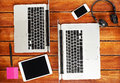 Laptops of people working together Royalty Free Stock Photo