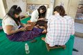 Laquer works in bagan myanmar burmese women are lacquering the art objects a workshop Royalty Free Stock Image