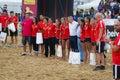 LAREDO, SPAIN - JULY 31: Spain female national team in the Spain handball Championship celebrated in Laredo in July 31, 2016 in La Royalty Free Stock Photo