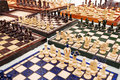 A large amount of homemade chess boards displayed for sale on a table at the mauerpark sunday flea market Royalty Free Stock Image