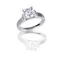 Large asscher cut modern diamond  engagement wedding ring Royalty Free Stock Photo