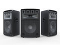 Large audio speakers on white background d render Royalty Free Stock Photo