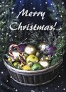 A large basket of fruit and Christmas balls. Crowned wreath of s Royalty Free Stock Photo