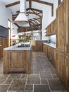 Large beautiful kitchen in a rustic style. Royalty Free Stock Photo