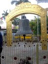 Large bell at buddhist  spritual place in varanasi india Royalty Free Stock Photo