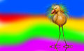 Large bird a long legged whimsical on a rainbow background looking down Royalty Free Stock Photos