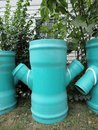 Blue sewer pipes Royalty Free Stock Photo