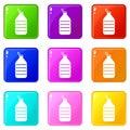 Large bottle of water icons 9 set