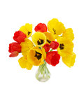 Large bouquet blossoming tulips vase Stock Photo