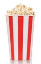 Large box of delicious fresh popcorn isolated on white Royalty Free Stock Photo