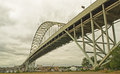 Large bridge over willamette interstate highway spanning the river at portland oregon having one major parabolic arch Stock Photography