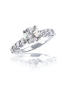Large brilliant cut modern diamond engagement wedding ring a beautiful round center stone fashion in a white gold or platinum Stock Image