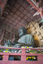 The large buddha inside the daibutsuden in todai ji temple nara japan Royalty Free Stock Photos