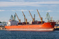 Large cargo ship in a dock Royalty Free Stock Photo