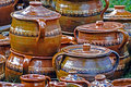 Large ceramic pots traditional romanian for sibiu area romania Royalty Free Stock Photos