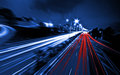 Large city road night scene, night car rainbow light trails Royalty Free Stock Photo