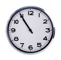 Large clock shows five minutes to eleven round Royalty Free Stock Photos