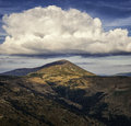 Large clouds above the petros peak eastern carpathians chornohora region Royalty Free Stock Images
