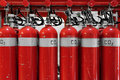Large co fire extinguishers in a power plant thermal Royalty Free Stock Photo