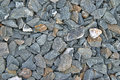 Large coarse gravel a close view of used for underlayment in heavy construction Royalty Free Stock Images