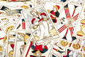 Large Collection of Scattered Colored Tarot Cards Royalty Free Stock Photo