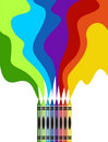 Large colored crayons drawing a rainbow art Stock Photo