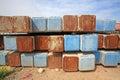 Large concrete piles preparing for construction against blue sky Stock Photography