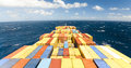 Large container vessel ship and the horizon Royalty Free Stock Photo