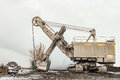 Large crawler bucket excavator. Industrial transport. Royalty Free Stock Photo