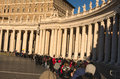 A large crowd of tourists and pilgrims, unidentified, waits in line to enter the Vatican Museums from early morning. Vatican. Rome Royalty Free Stock Photo