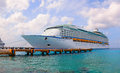 Large cruise ship voyager of the seas is docked over guests went out to visit beautiful tropical island cozumel mexico february Stock Images