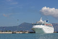 Large cruiser ship in port Corfu